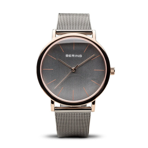 BERING Classic 36mm Polished Rose Gold Grey Mesh Strap Unisex Watch 13436-369