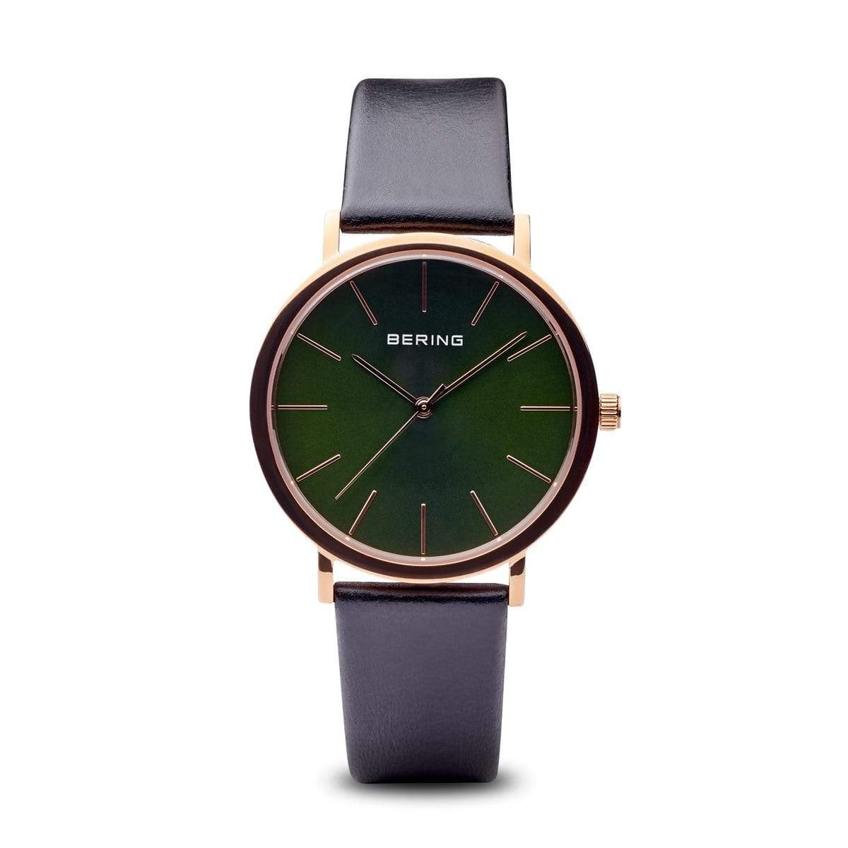 BERING Classic Polished Rose Gold Case Green Dial Unisex Watch 13436-469