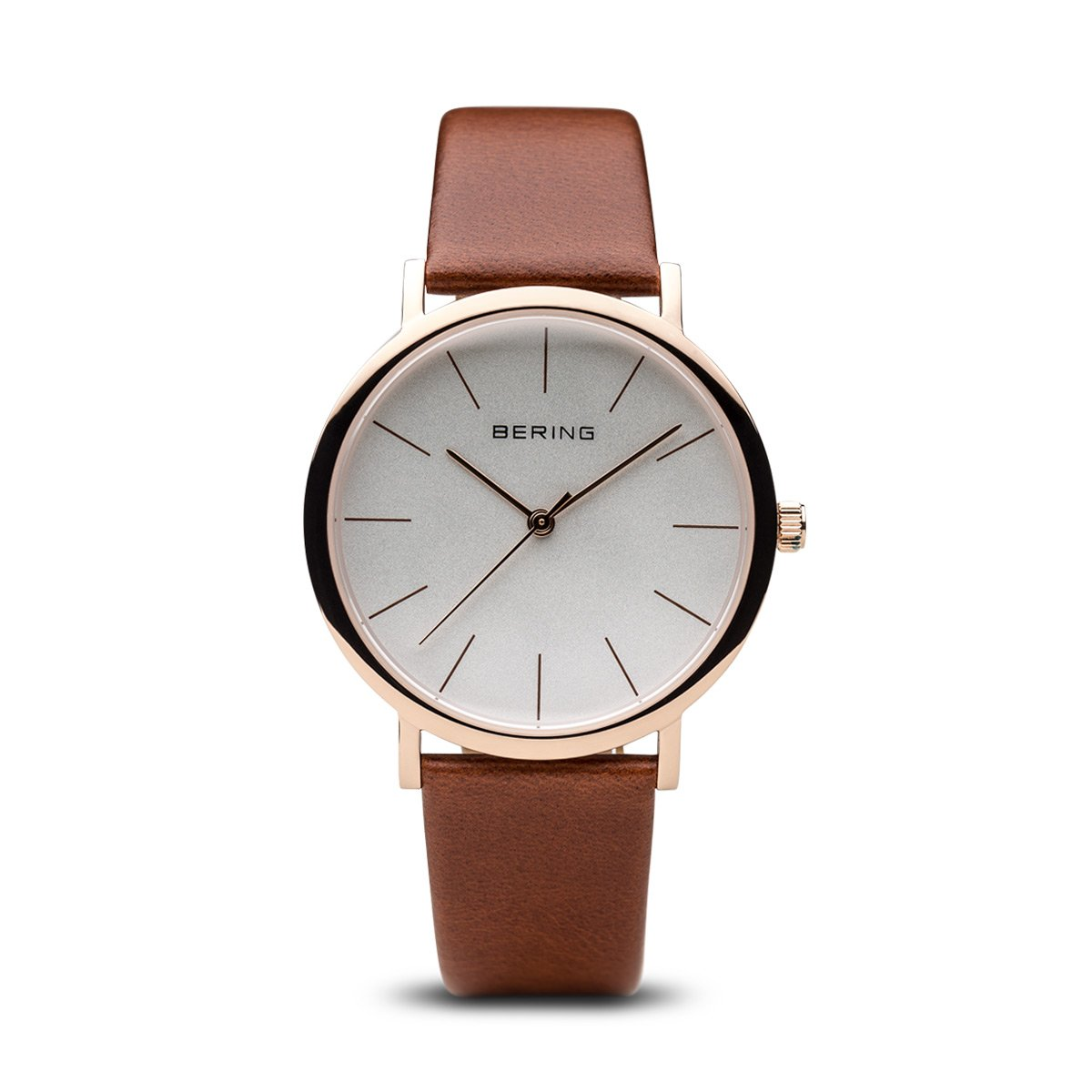 BERING Classic 36mm Polished Rose Gold Brown Leather Band Unisex Watch 13436-564