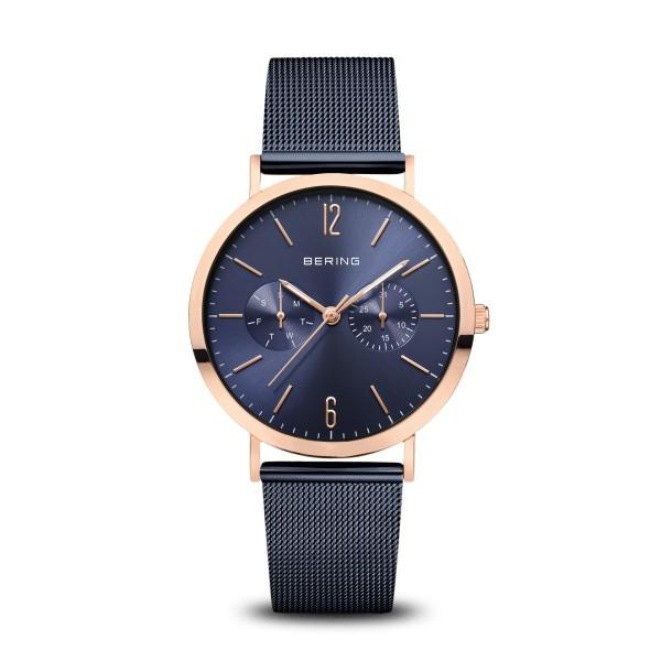 BERING Classic 36mm Polished Rose Gold Milanese Strap Blue Women's Watch 14236-367