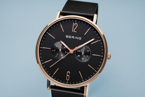 BERING Classic 40mm Polished Rose Gold Milanese Strap Black Men's Watch 14240-163