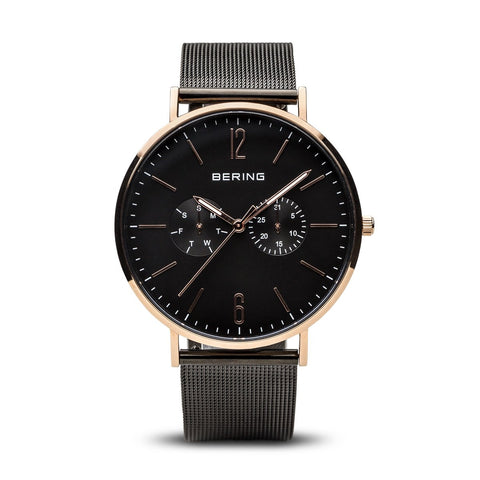 BERING Classic Polished Rose Gold Black Mesh Band Men's Watch 14240-166