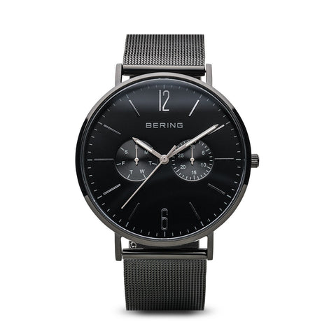 BERING Classic Polished Black Case Day-Date Mesh Band Men's Watch 14240-222