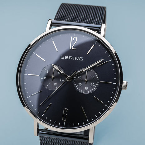 BERING Classic Polished Silver Case Day-Date Blue Band Men's Watch 14240-307