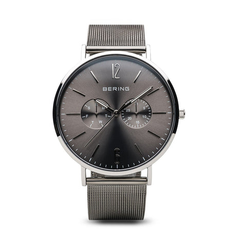 BERING Classic Polished Silver Grey Mesh Band Men's Watch 14240-309