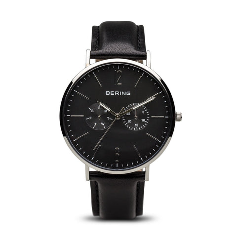 BERING Classic 40mm Polished Silver Calfskin Leather Strap Black Men's Watch 14240-402