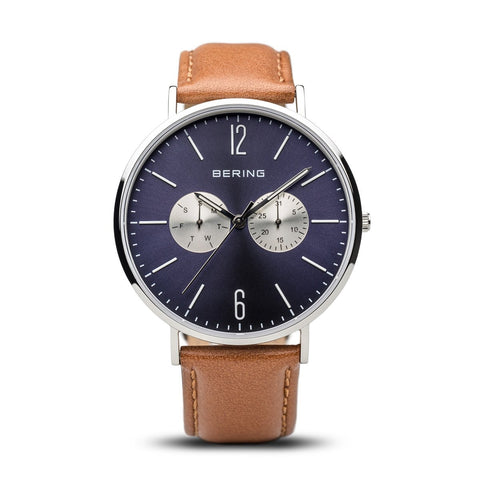 BERING Classic Polished Silver Day-Date Brown Strap Men's Watch 14240-507