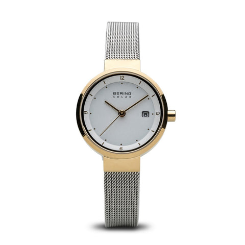 BERING 14426-010 Women's Watch Solar White Dial IP Gold Stainless Steel Case