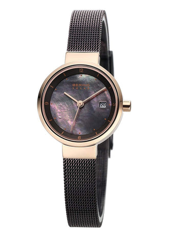 BERING Solar Polished Rose Gold Brown Mesh Strap Women's Watch 14426-265