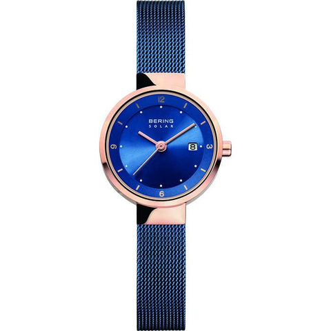 BERING Solar Polished Rose Gold Blue Mesh Strap Women's Watch 14426-367