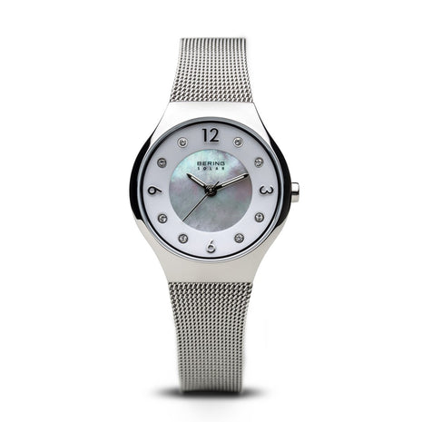 BERING Solar Polished Silver Slim Mesh Band Women's Watch 14427-004