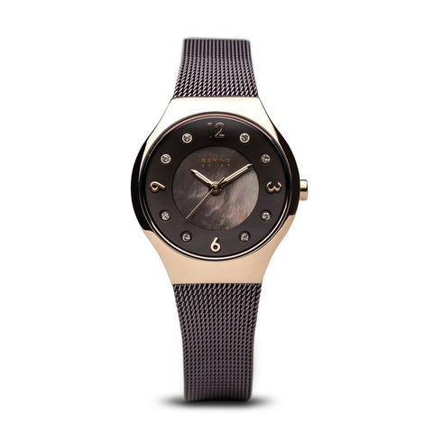 BERING Solar Polished Rose Gold Slim Mesh Brown Band Women's Watch 14427-265