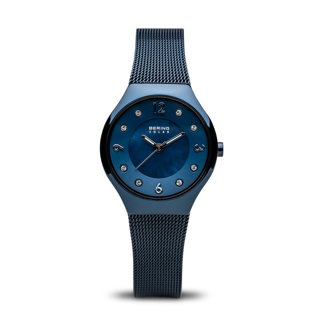 BERING Solar Polished Blue Mesh Band Women's Watch 14427-393
