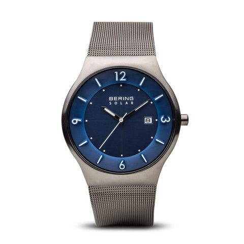 BERING Solar 40mm Brushed Grey Case Grey Mesh Band Men's Watch 14440-007