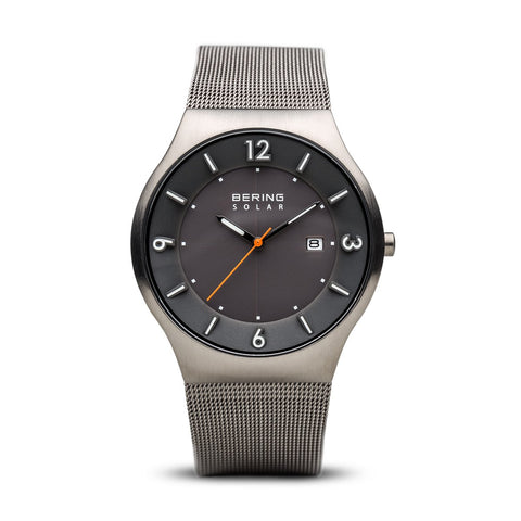 BERING Solar 40mm Brushed Grey Case Grey Mesh Band Men's Watch 14440-077