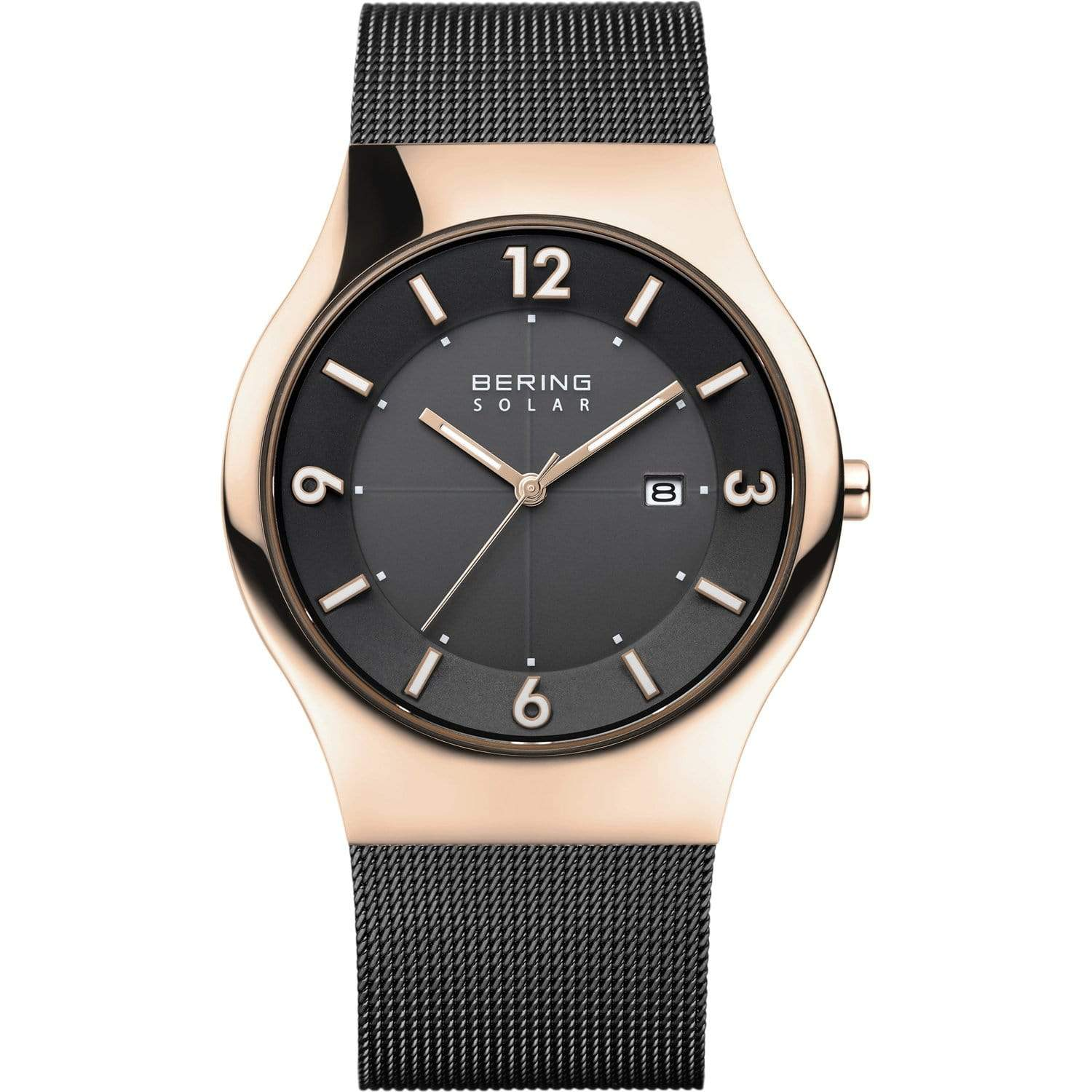 BERING Solar 40mm Polished Rose Gold Case Black Dial Men's Watch 14440-166