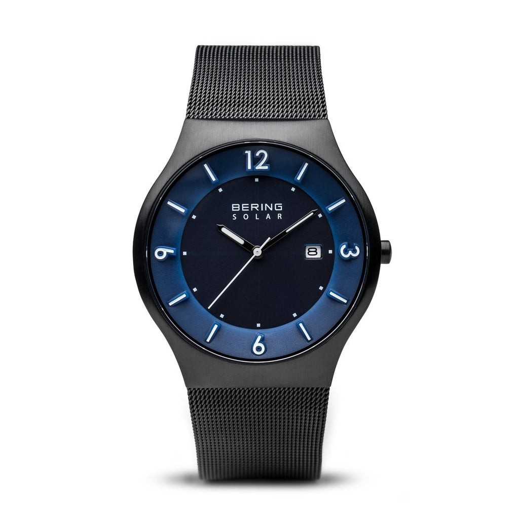 BERING Solar 40mm Brushed Black Case Blue Dial Men's Watch 14440-227