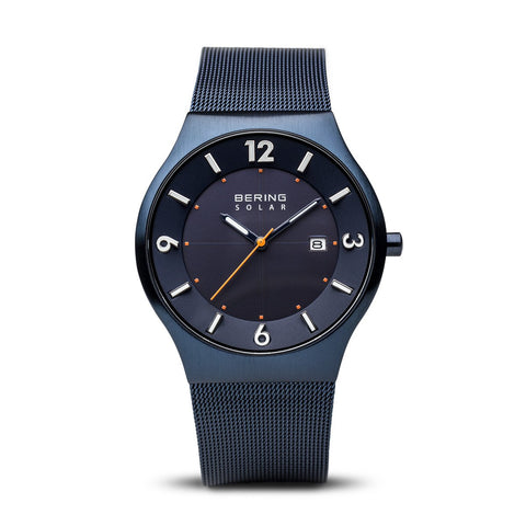 BERING Solar 40mm Brushed Blue Case Blue Mesh Band Men's Watch 14440-393