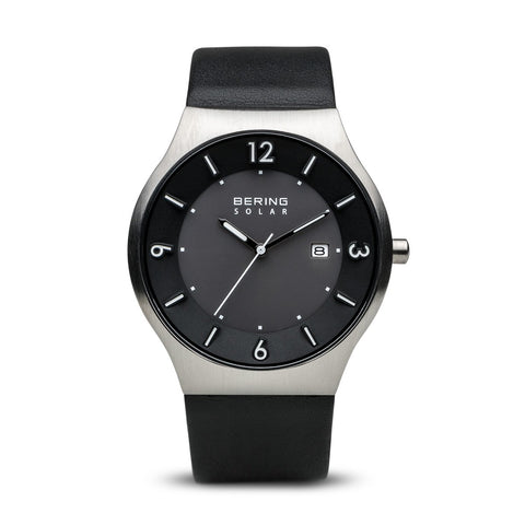 BERING 14440-402 Solar Men's Watch Brushed Silver Stainless Steel Case Black Dial