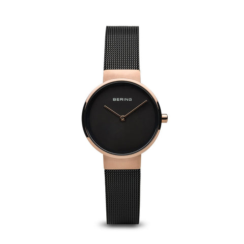 BERING Classic 26mm Polished Rose Gold Case Black Mesh Band Women's Watch 14526-166