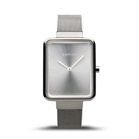 BERING Classic Rectangle Case Silver Mesh Strap Women's Watch 14528-000
