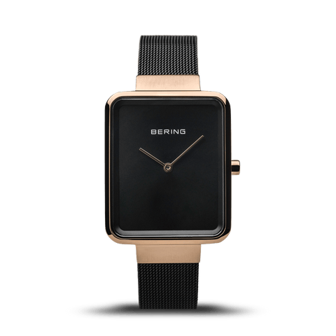 BERING Classic Rectangle Case Black-Rose Gold Women's Watch 14528-166