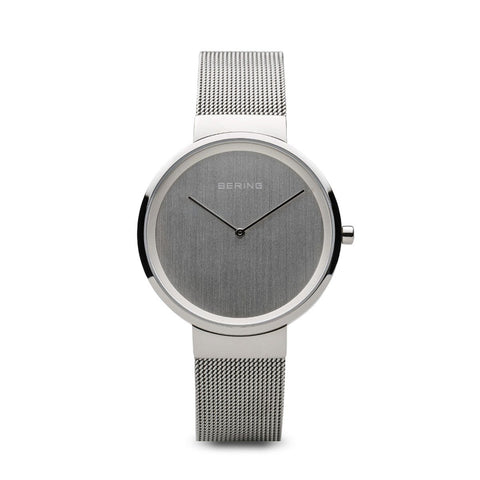 BERING Classic Polished Silver Case Silver Mesh Band Women's Watch 14531-000