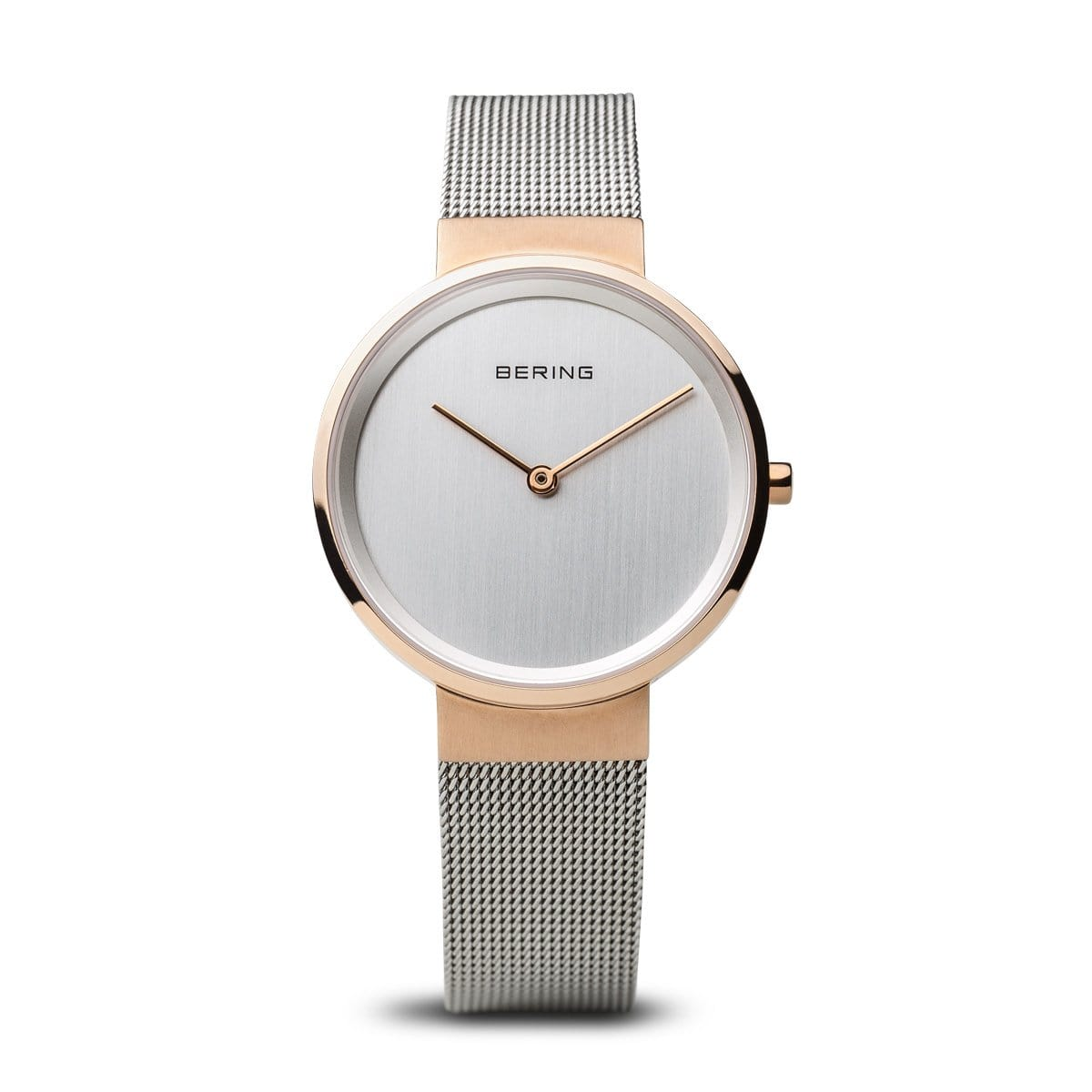 BERING Classic Polished Rose Gold Silver Mesh Band Women's Watch 14531-060