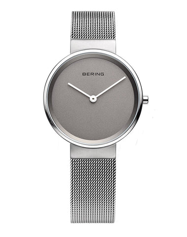 BERING Classic Brushed Silver Stainless Steel Mesh Band Women's Watch 14531-077