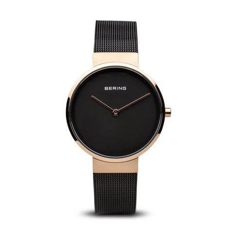 BERING Classic Polished Rose Gold Stainless Steel Mesh Band Women's Watch 14531-166