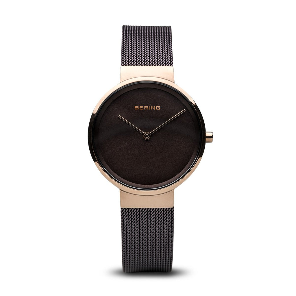 BERING Classic Brown Mesh Band Rose Gold Case Women's Watch 14531-262