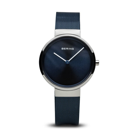 BERING Classic Polished Silver Blue Stainless Steel Mesh Band Women's Watch 14531-307