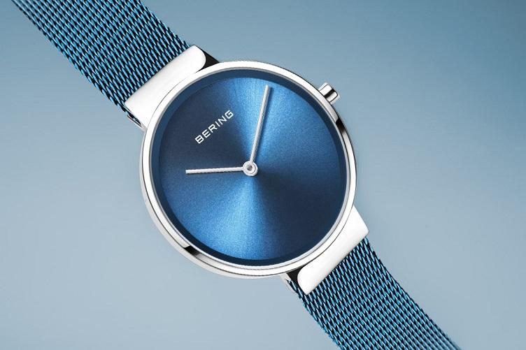 BERING Classic 31mm Polished Silver Milanese Strap Blue Women's Watch 14531-308