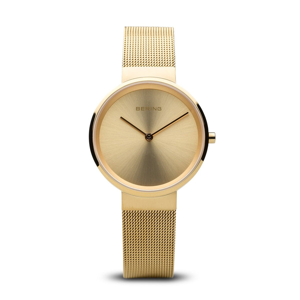 BERING Classic Polished Gold Stainless Steel Mesh Band Women's Watch 14531-333