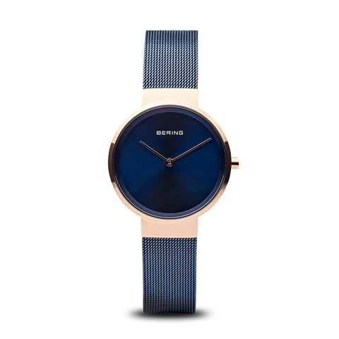 BERING Classic Polished Rose Gold Blue Stainless Steel Mesh Band Women's Watch 14531-367
