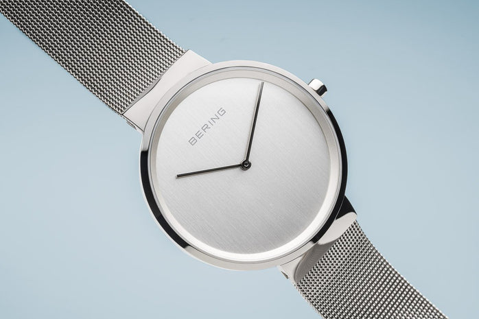 BERING Classic Polished Silver Mesh Band Unisex Watch 14539-000