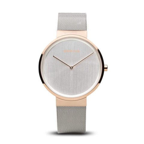BERING Classic 39mm Polished Rose Gold Case Silver Mesh Band Unisex Watch 14539-060