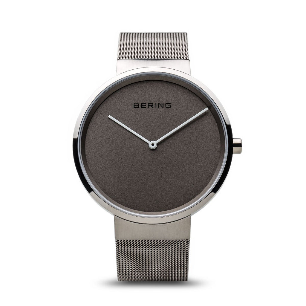 BERING Classic Brushed Silver Gray Mesh Band Unisex Watch 14539-077