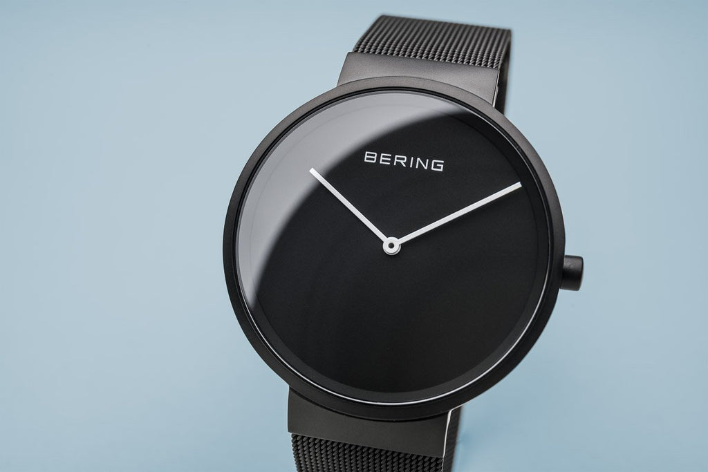BERING Classic Black Matte Black Mesh Strap Men's Watch 14539-122