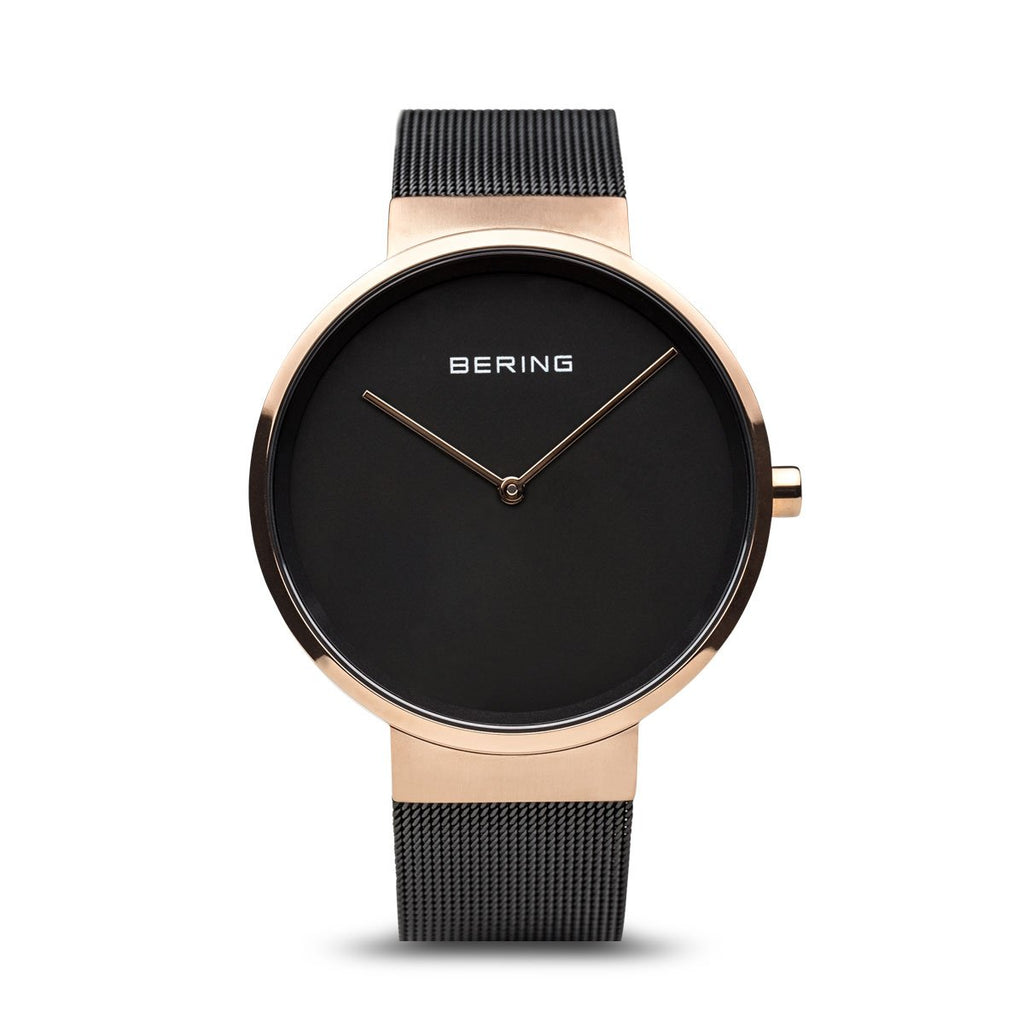 BERING Classic Polished Rose Gold Case Black Mesh Band Unisex Watch 14539-166