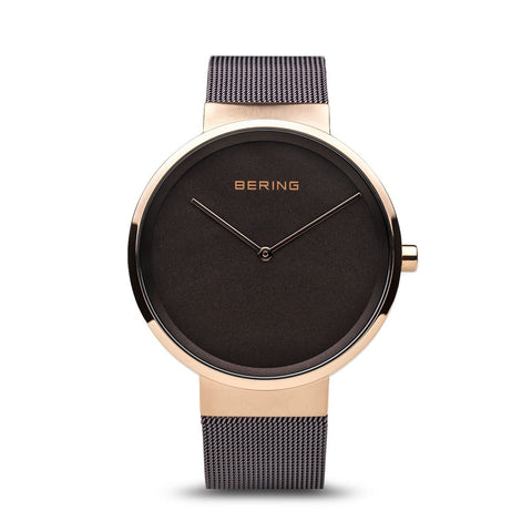 BERING Classic Polished Rose Gold Case Brown Mesh Band Unisex Watch 14539-262