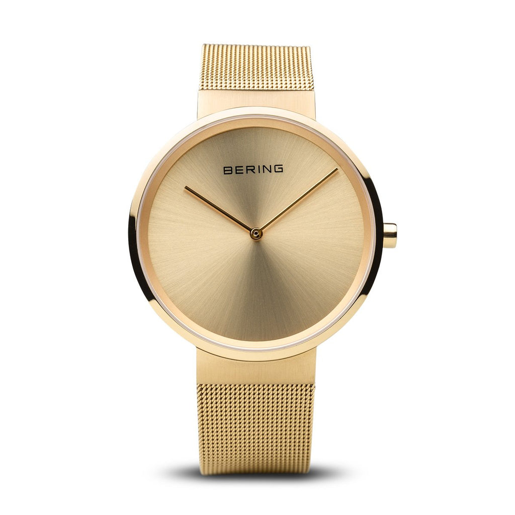 BERING Classic Polished Gold Mesh Band Unisex Watch 14539-333