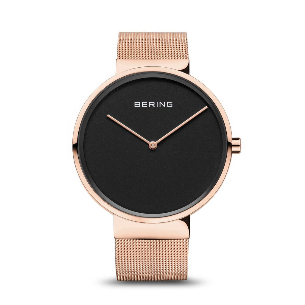 BERING Classic Polished Rose Gold Mesh Band Unisex Watch 14539-362