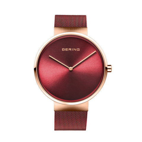 BERING Classic 39mm Polished Rose Gold Milanese Strap Red Men's Watch 14539-363