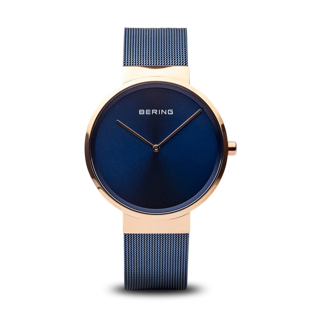 BERING Classic Polished Rose Gold Case Blue Mesh Band Unisex Watch 14539-367