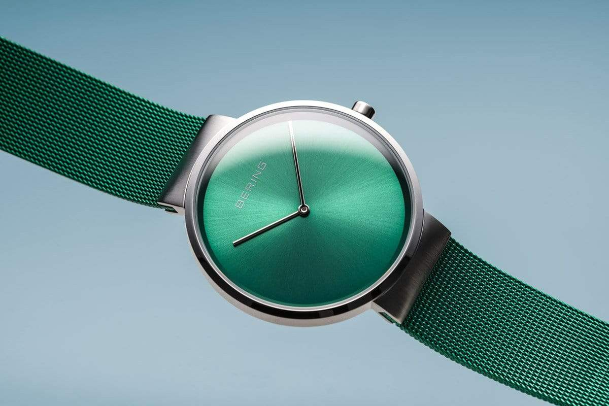 BERING Classic 39mm Green Dial Green Mesh Band Unisex Watch 14539-808