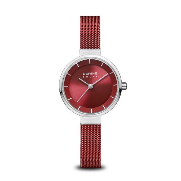 BERING Solar 27mm Polished Silver Milanese Strap Red Women's Watch 14627-303