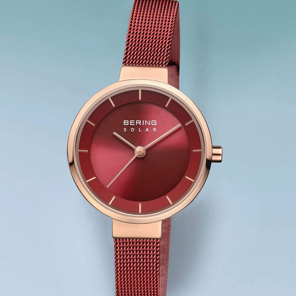 BERING Solar 27mm Polished Rose Gold Red Milanese Strap Women's Watch 14627-363