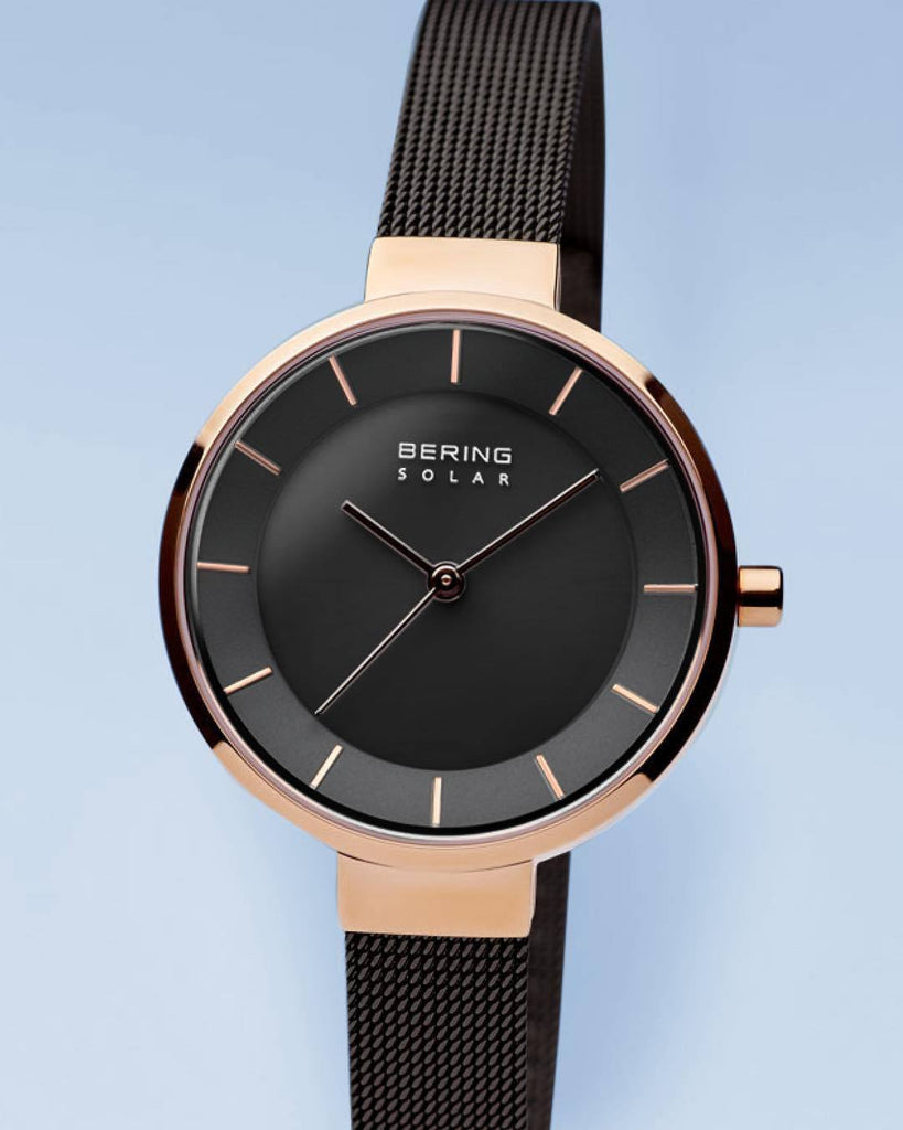 BERING Solar 31mm Polished Rose Gold Black Mesh Strap Women's Watch 14631-166