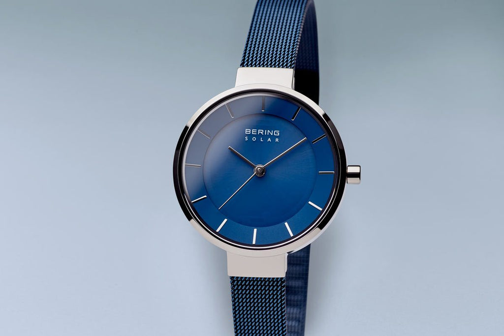 BERING Solar 31mm Polished Silver Blue Mesh Strap Women's Watch 14631-307